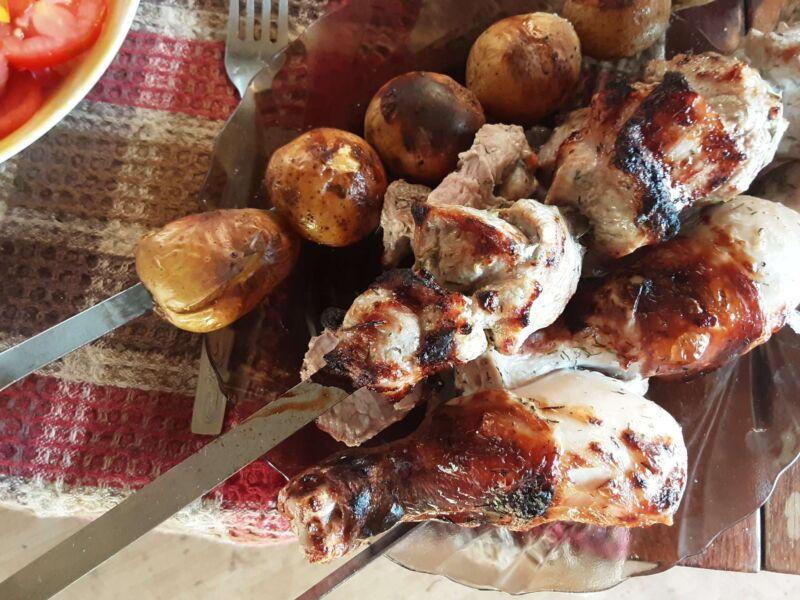Ингредиенты для окрошки с мясом на кефире